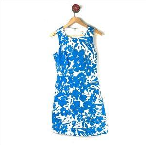 J Crew Dress Shift Textured Blue Floral Size 0
